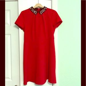 Elle red sequins collar dress NWT size 10